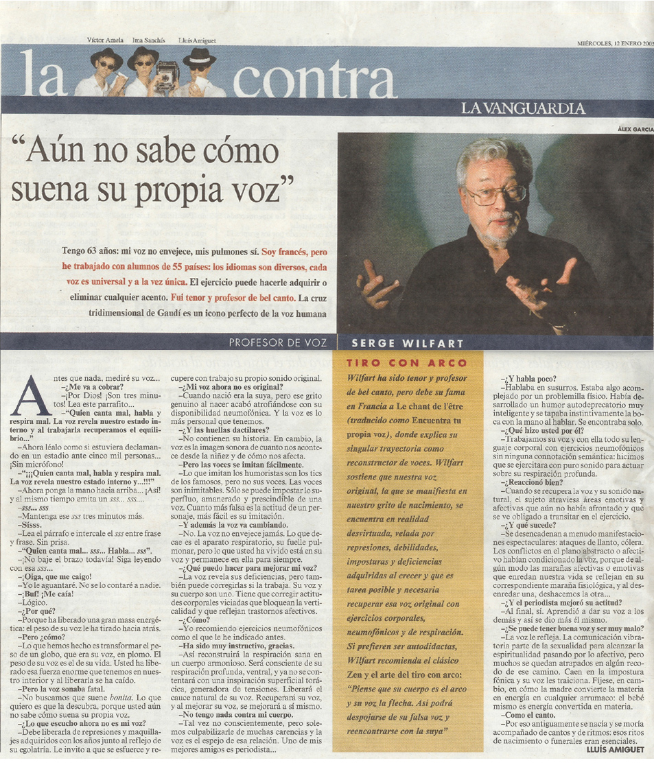 Contra de Serge Wilfart en La Vanguardi