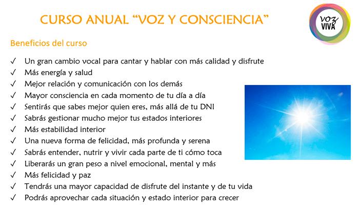 beneficios del curso anual Voz y Consciencia en Barcelona y online